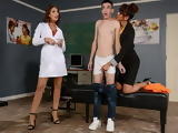 Lucky Young Student Boy Seduced By 2 Sizzling Hot Milf Teacher
