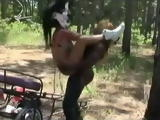 Black Bodybuilder Woman Fucks Poni Slave Woman With Spartan Helmet With Strap On In the Woods