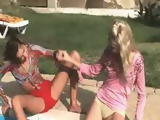 Kissing and masturbating at poolside