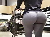 Huge PAWG Ass Milf In Grey Leggings Shopping